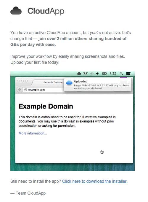 CloudApp installation nudge behavioral marketing email