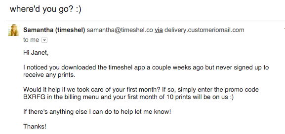 Timeshel mobile app activation email