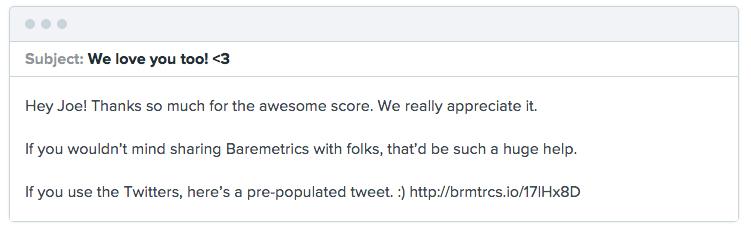 Baremetrics NPS promoter followup message