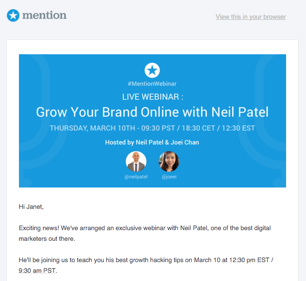 Mention role-targeted webinar email