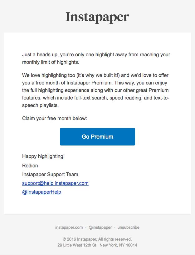 Instapaper app upgrade email