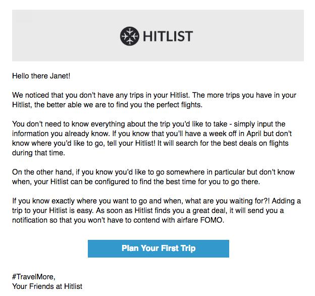 Hitlist onboarding behavioral email