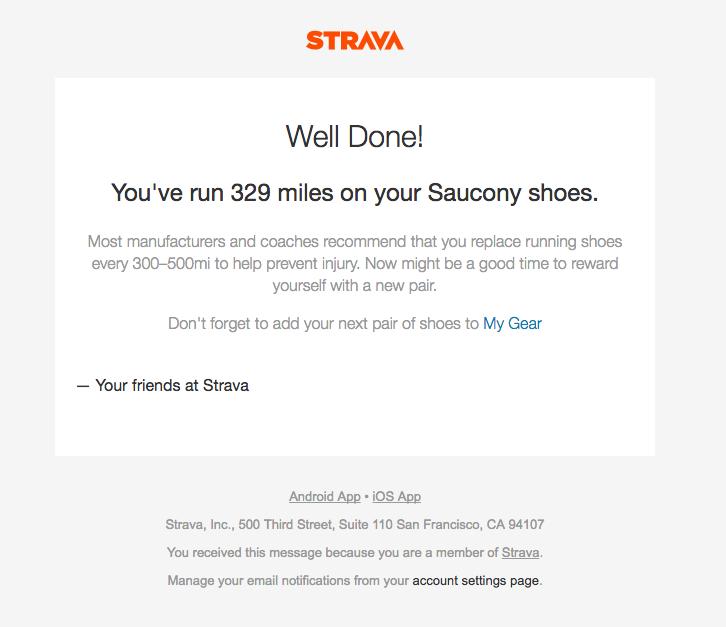 Strava app milestone retention email