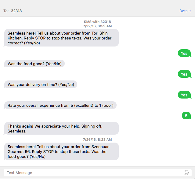 Seamless SMS interaction
