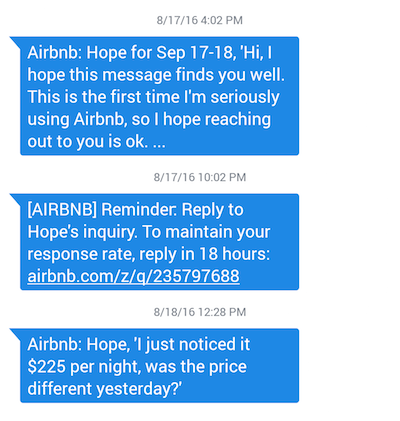 Airbnb SMS guidance