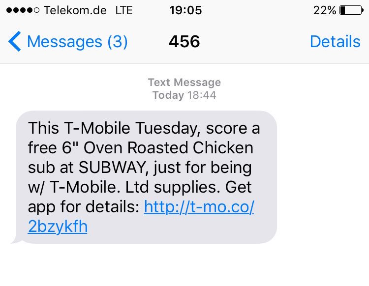 unwanted SMS message