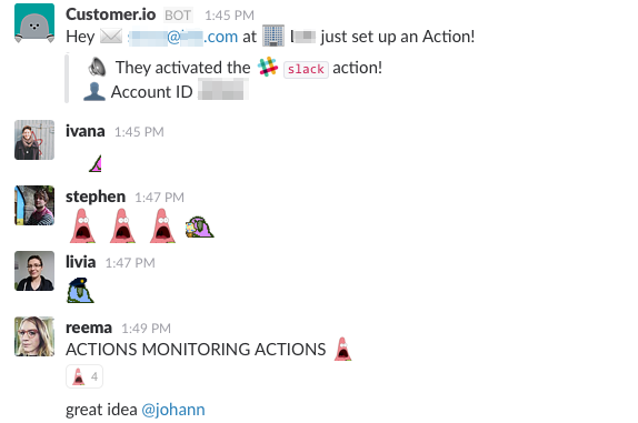 Slack Action monitoring Actions example