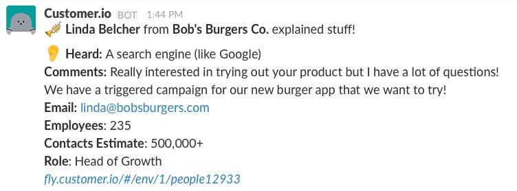 Slack Action customer success example