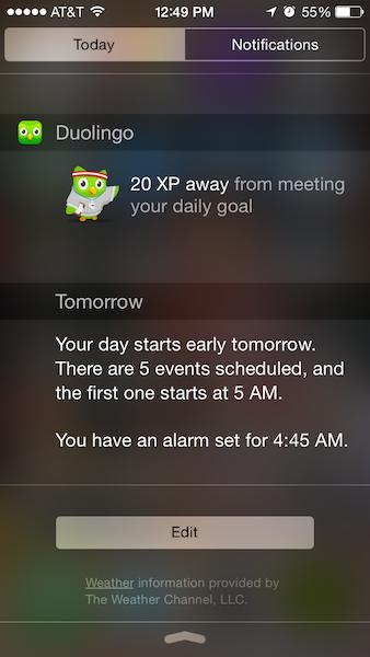 Duolingo goal reminder