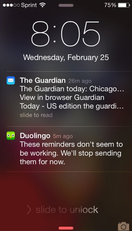 Duolingo push notification checkin