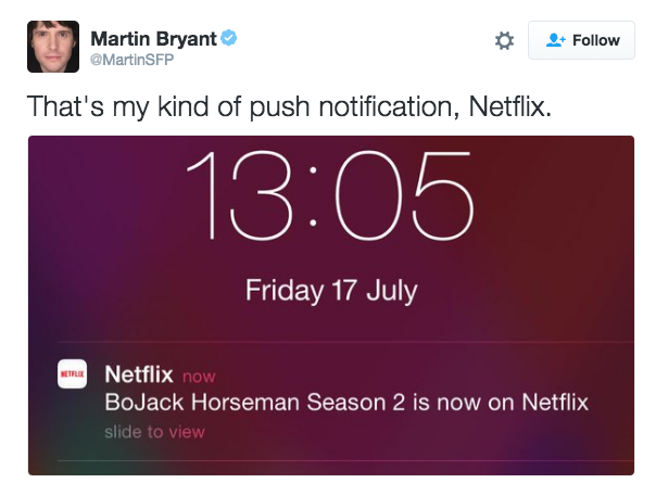 Netflix push notification