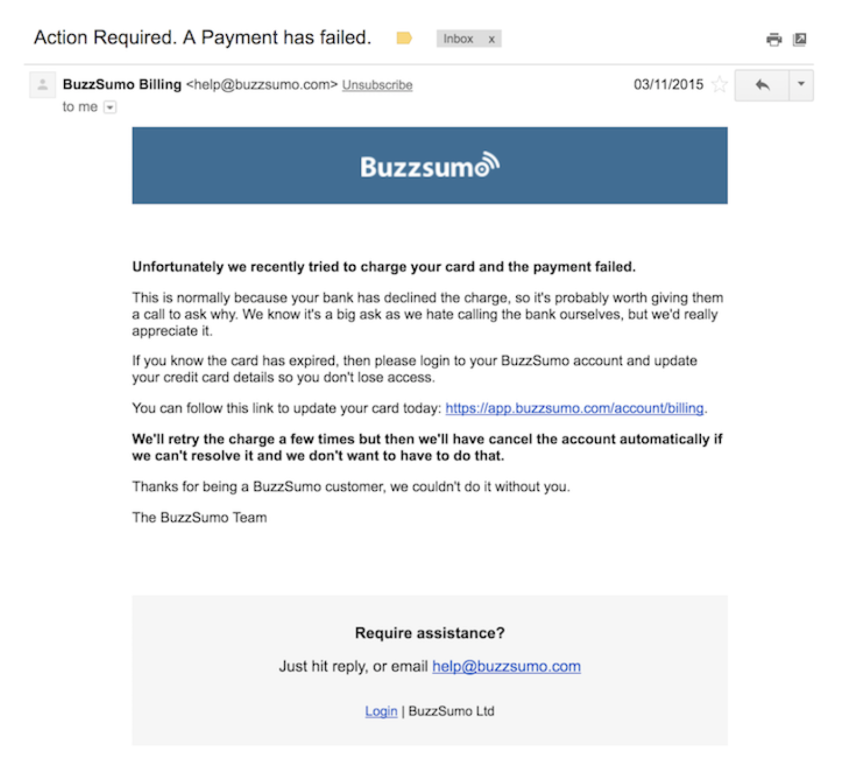 dunning email strategy BuzzSumo