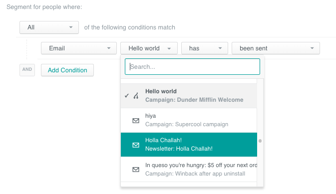 segment builder on email condition