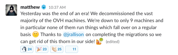 """Slack message saying: """"Yesterday was the end of an era! We decommissioned the vast majority of the OVH machines. We"""