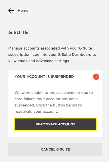 dunning email example G Suite