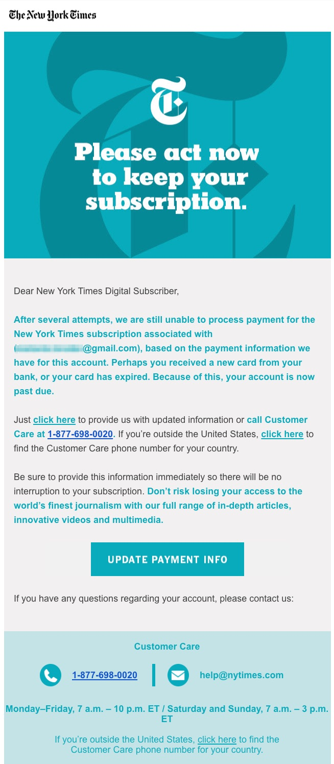 dunning email example The New York Times