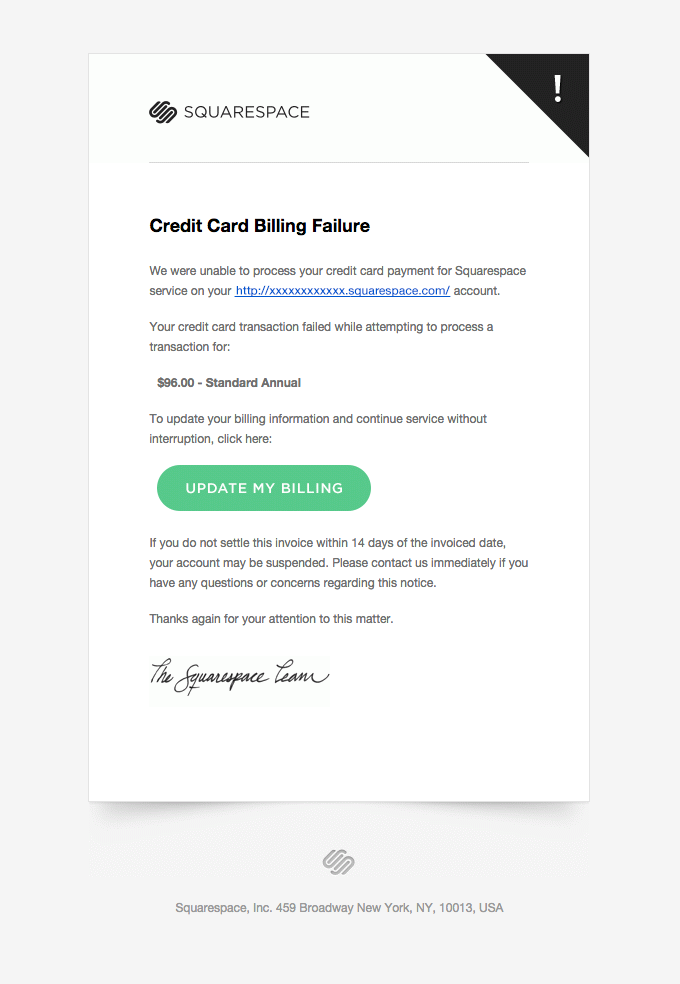 dunning email example Squarespace