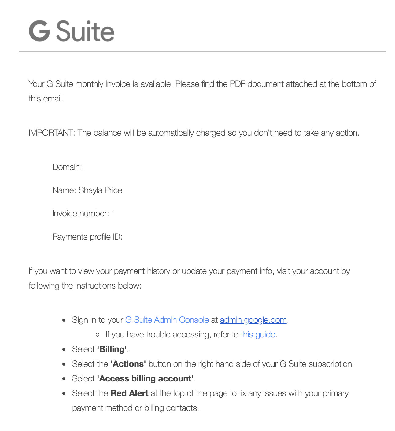transactional email G Suite example