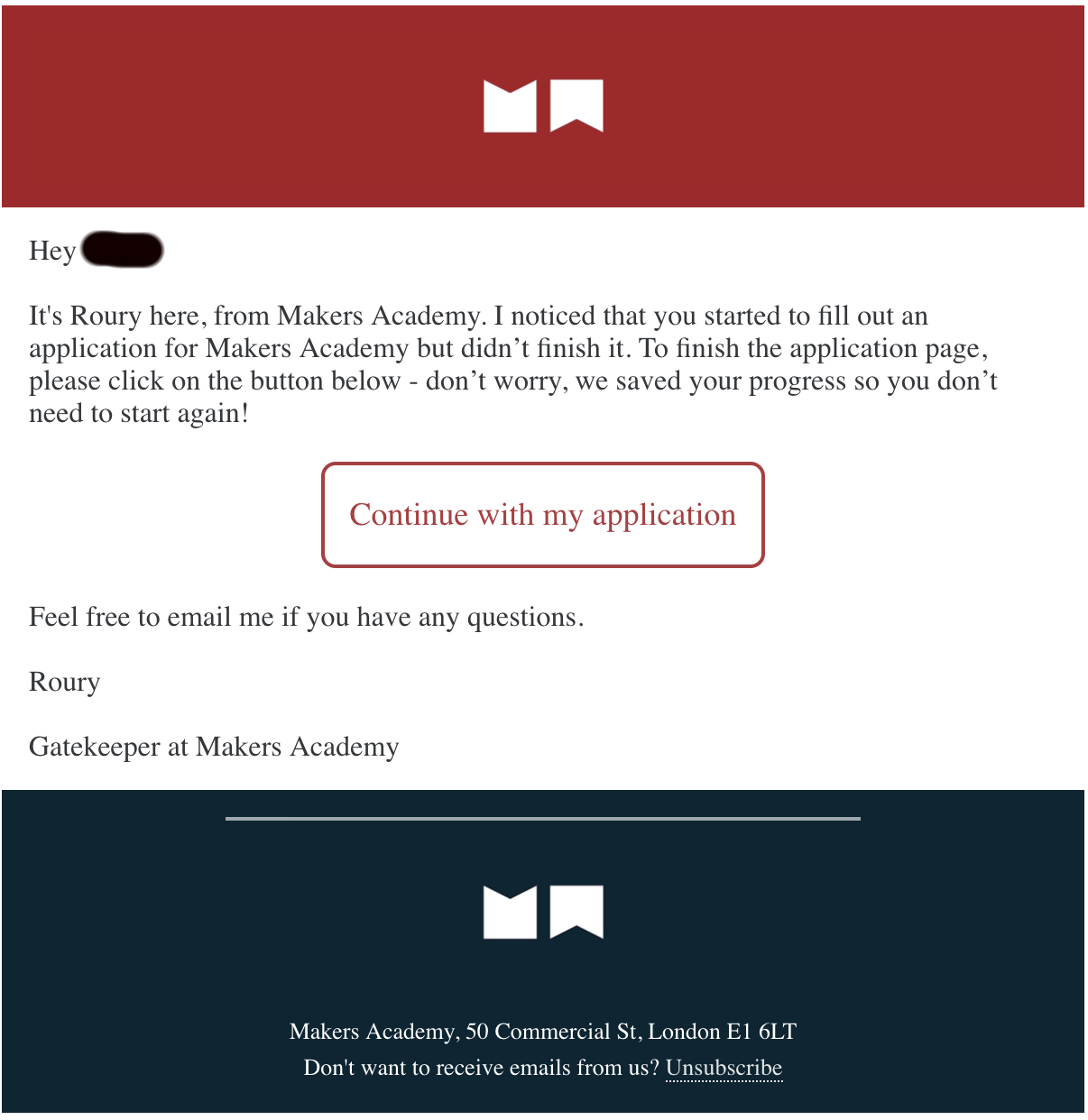 transactional email Makers Academy example