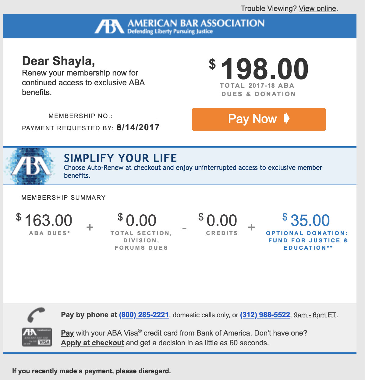 invoice emails American Bar Association