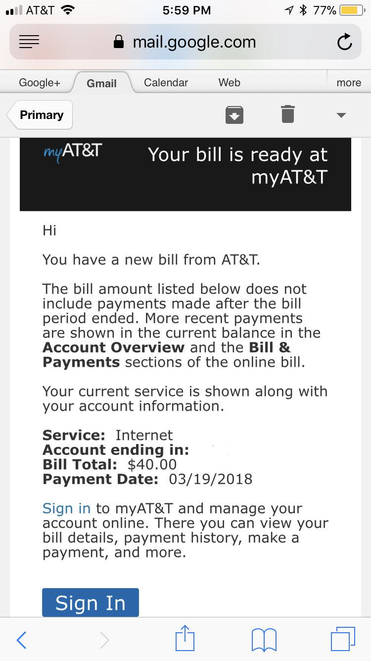 invoice emails ATT