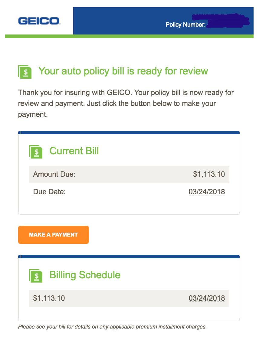 invoice emails Geico