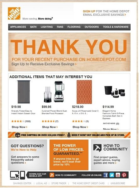 Home Depot transactional email marketing