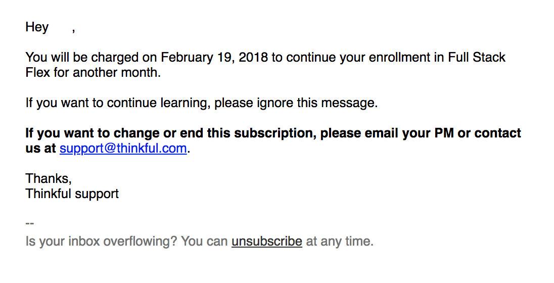 Thinkful transactional email marketing