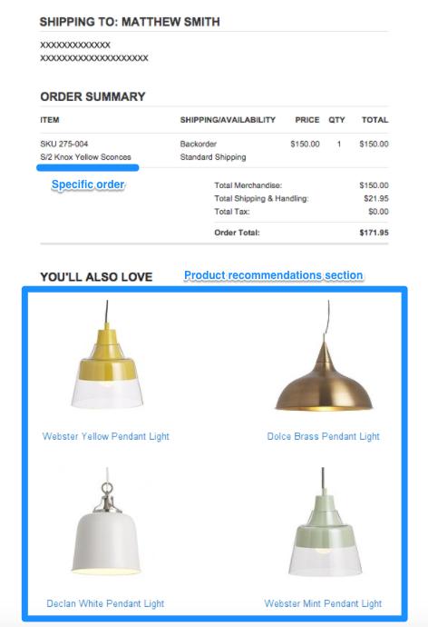order confirmation email Crate & Barrel
