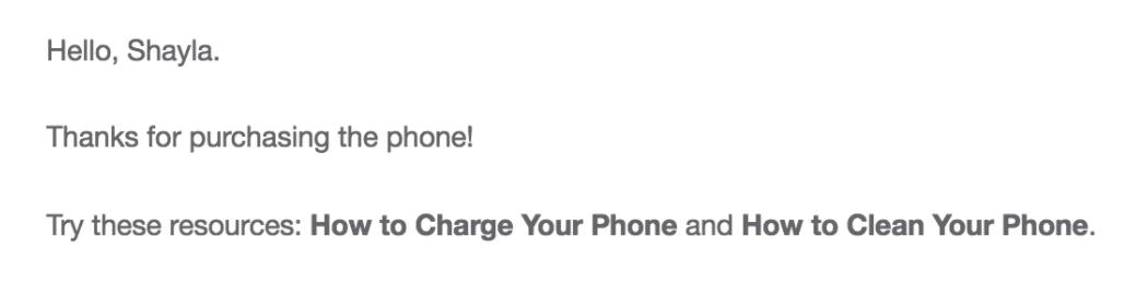 order confirmation email forloop email
