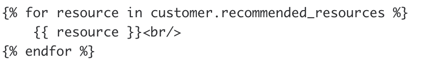 order confirmation email forloop example