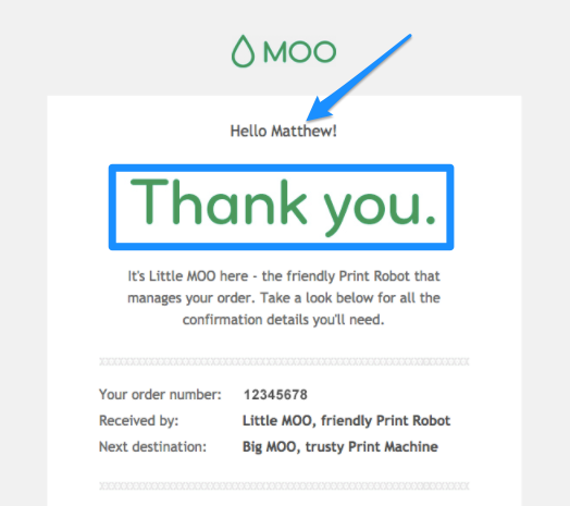 order confirmation email Moo
