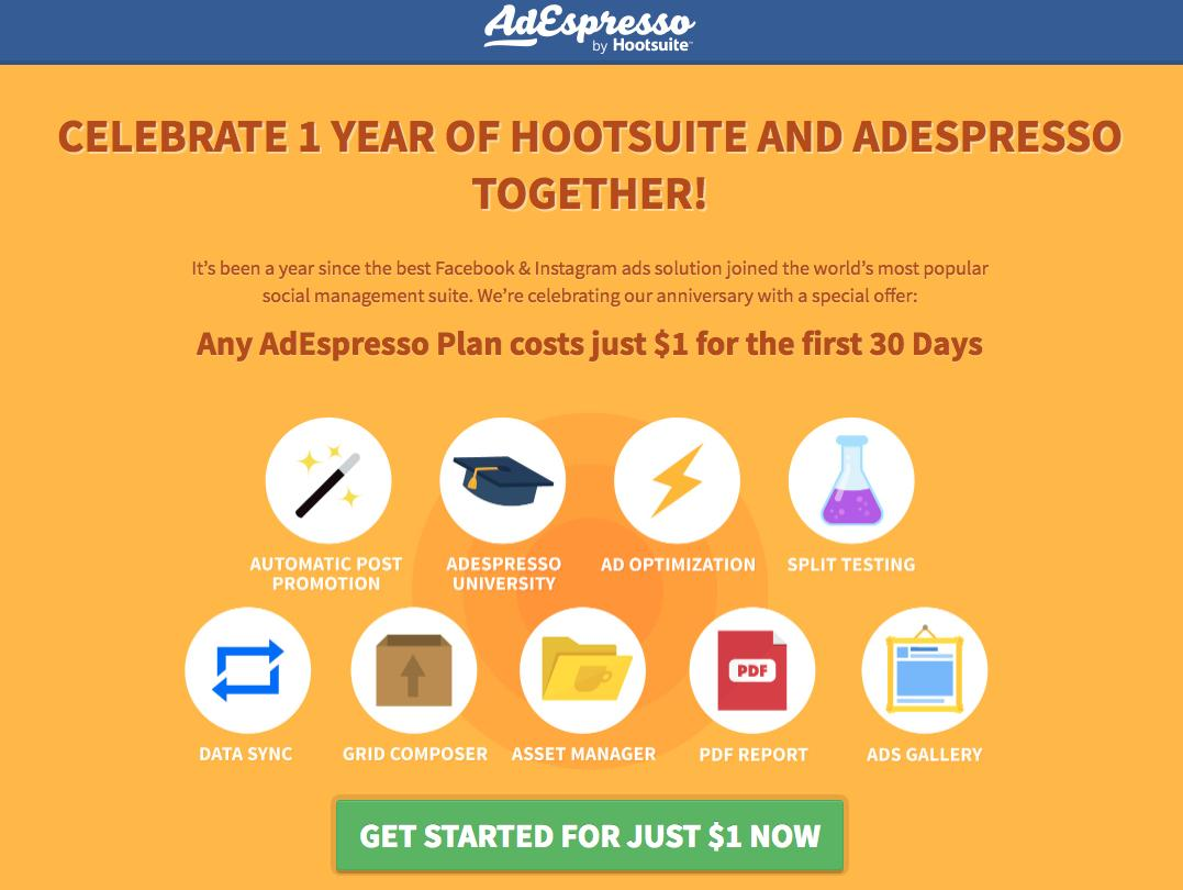 AdEspresso landing page after email