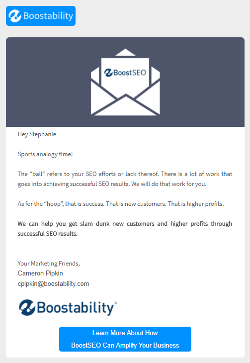 Boostability email campaign