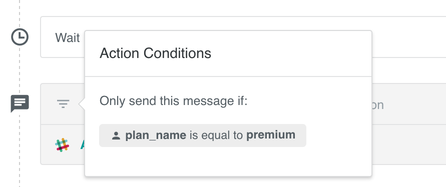 Action conditions added to a slack message