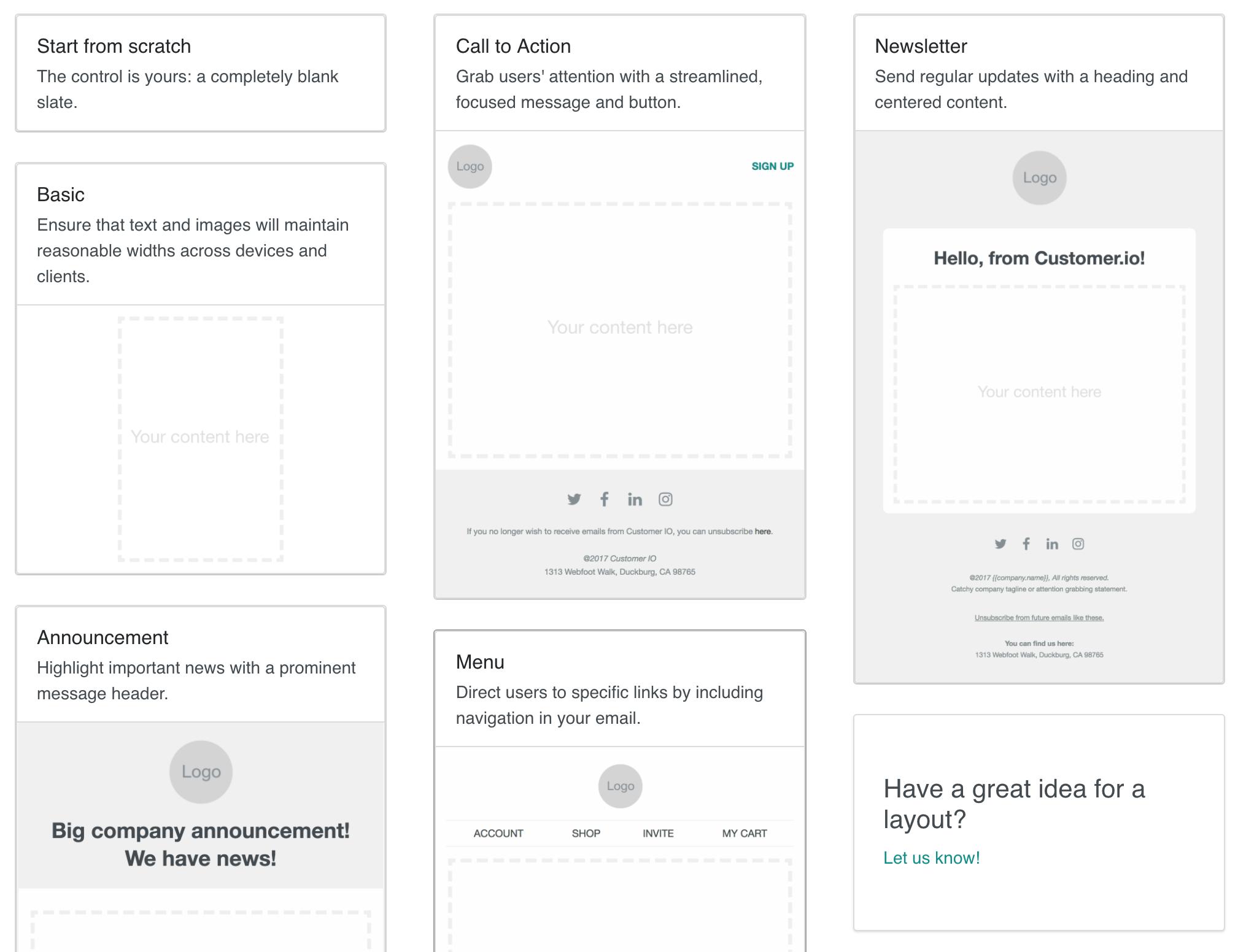 Introducing responsive Layout Starters! - Customer io