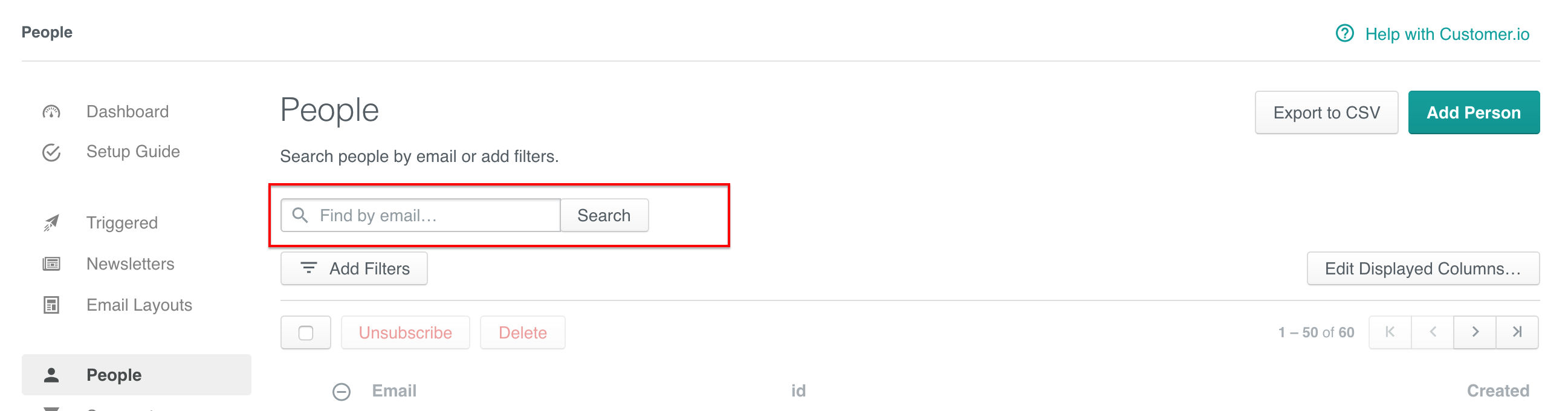 Search on the People page