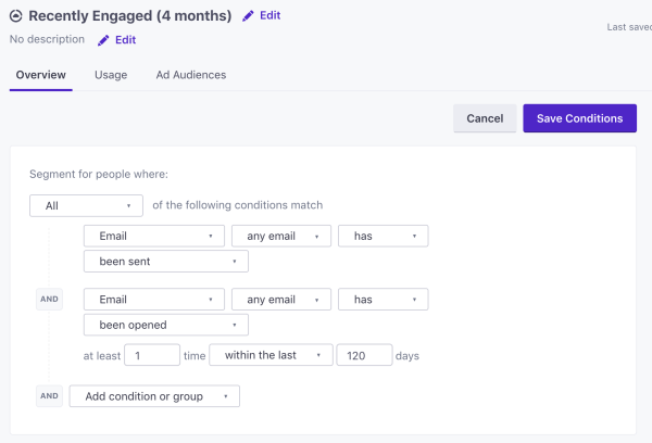 Engagement filter segment in Customer.io
