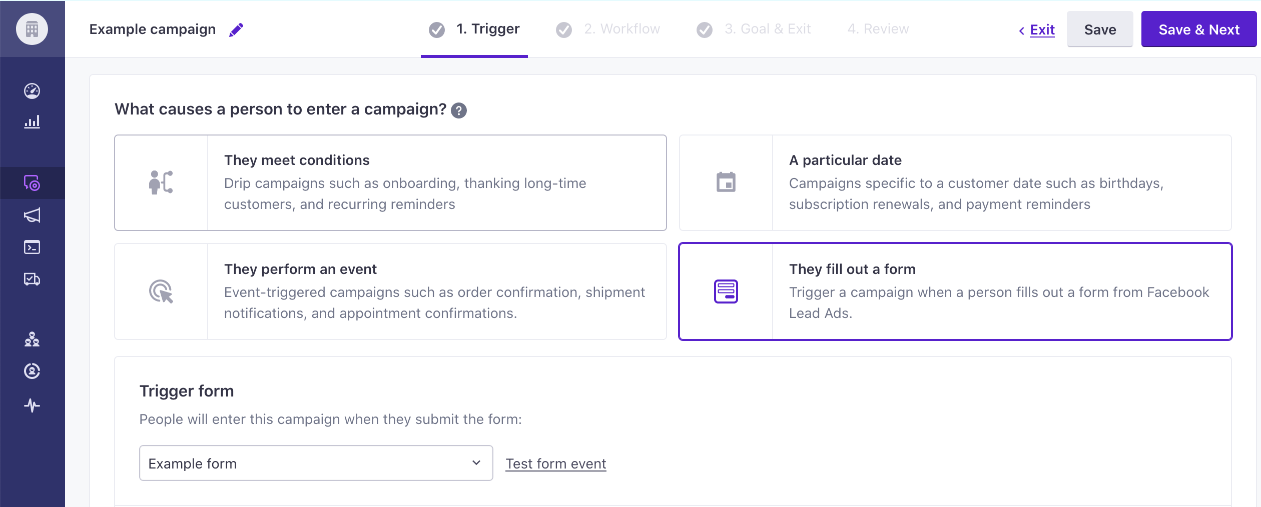 Trigger campaign from a lead ad form