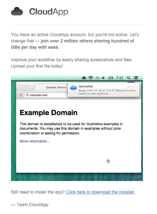 CloudApp installation nudge behavioral marketing email