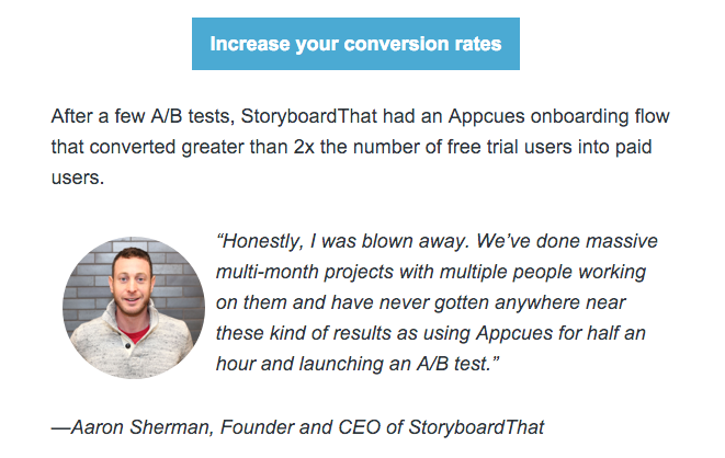 Appcues onboarding email concrete example