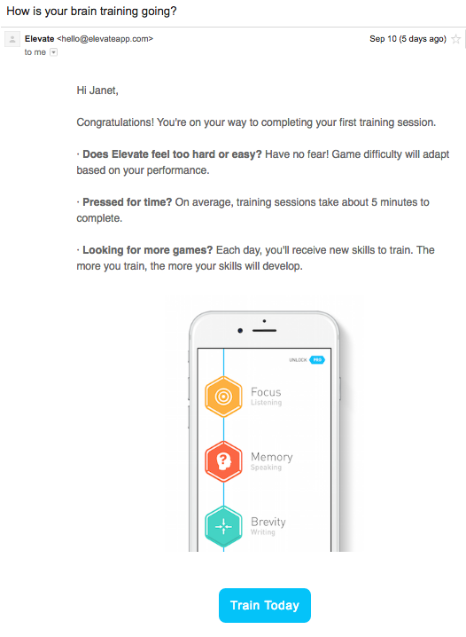 Elevate onboarding emails