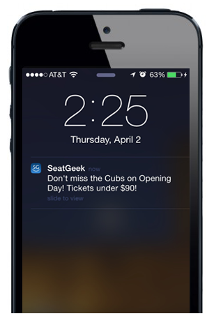 Seatgeek push notification