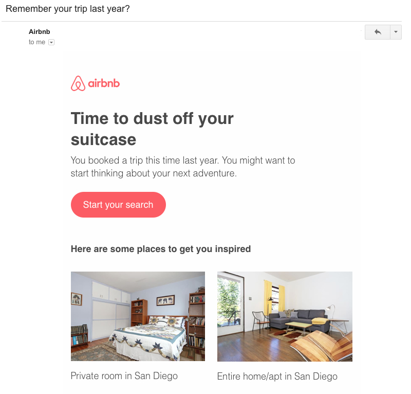 airbnb reengagement email