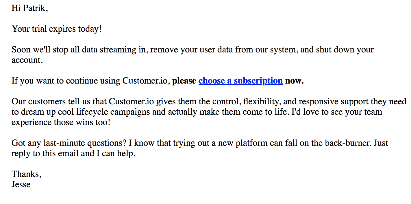 best transactional emails Customer.io