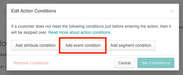 Action conditions based on event data in Customer.io