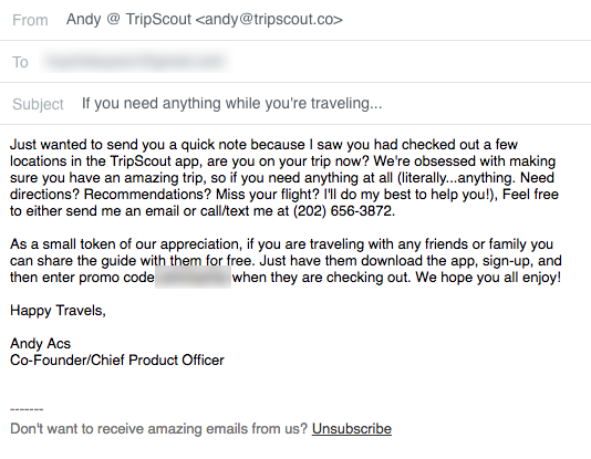 tripscout founder gives up his personal phone number