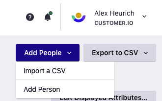 Add People dropdown displays Import a CSV and Add Person