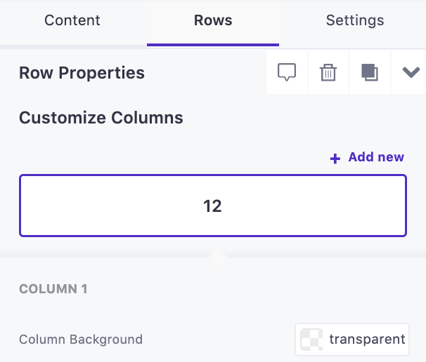Add new customize columns by taping the purple [+ Add new] button.