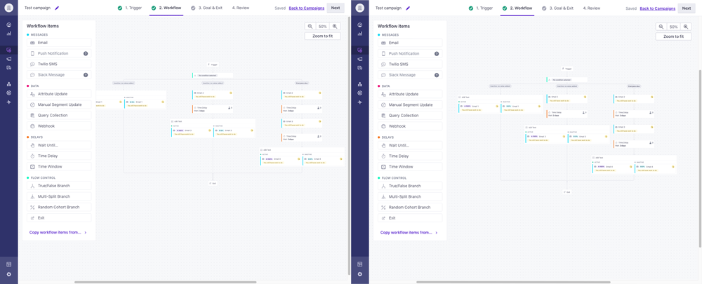 Side-by-side image comparison of old vs new visual workflow builder.